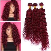 Tony Beauty Hair Brazilian Burgundy Red Human Hair 3Pcs Deep Curly Wave Virgin Hair Weave Bundles #99J Wine Red Human Hair Extensions Double Wefts 10-80cm