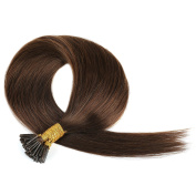 Grammy 60cm 100 Strands Straight Keratin Stick I Tip Remy Human Hair Extensions #4 Medium Brown 0.5g Per Strand