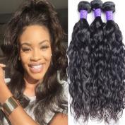 Lemoda 7A Peruvian Water Wave Weave 100%Human Virgin Hair 3Bundles with 10cm x 10cm Lace Closure 100g/bundle 7A Grade Unprocessed Human Hair