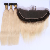 Tony Beauty Hair Brazilian Blonde Ombre 13x4 Lace Frontal Closure With 3 BundlesSilky Straight Two Tone 1B/613 Bleach Blonde Ombre Human Hair Wefts With Full Lace Frontal 4Pcs Lot