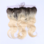 Tony Beauty Hair Brazilian Blonde Ombre Ear to Ear 13x 4 Full Lace Frontal With Baby Hair Dark Roots 1B/613 Bleach Blonde Body Wave Lace Frontal Closure Free Middle 3 Way Part 8-60cm