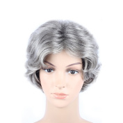 WeKen Women's Cosplay Wig Short Curly Synthetic Hair Silver Grey