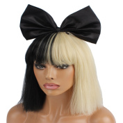 WeKen Cosplay Wig Women's Short Bob Kinky Straight Full Bangs Synthetic Black and Blonde Hair with a 25cm Small Black Bow