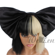WeKen Cosplay Wig Women's Short Bob Kinky Straight Full Bangs Synthetic Black and Blonde Hair with a 42cm Big Black Bow