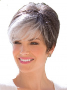 Short Cool Women Wigs White with Black Wig