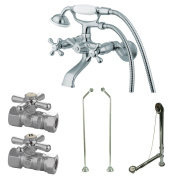 Kingston Brass CCK265CD Vintage Wall Mount Claw Foot Faucet Package with D Set Supply Line, 12cm , Polished Chrome