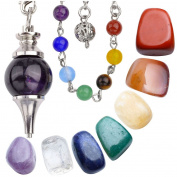 JOVIVI 7 Chakra Tumbled Stones and Amethyst Pendulum Dowsing Chakra Pendant/Bracelet Combination Healing Crystals Set