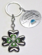 Gustav Lindner 4648-SE with green four-leaf clover key ring 45mm - 110mm length with chain - Components CRYSTAL TEMPTATIONS® made SPECTRA® CRYSTAL Strass - silver plated - Tarnish-resistant - individually packed in a gift box