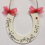 Personlised Wooden Horse shoe Wedding Plaque Gift Horseshoe any colour ribbon