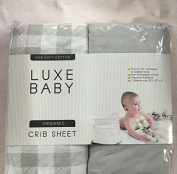 LUXE Fitted Crib Sheet Set in Grey Gingham! Exclusive Design in Ultra Soft Cotton – Fits All Baby Crib Standard Mattresses