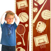 Growth Chart Art | Wooden Height Chart | Sports Growth Chart for Kids, Boys & Girls | Sports Themed Nursery Decor | Multi Sport Maple