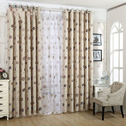Coffee Floral Pattern Blackout Insulated Window Treatments Drapes Curtains Set of 2 Panels 130cm x 220cm