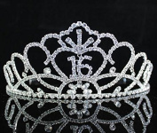 Janfashions Sweet Sixteen 16 Rhiestone Tiara Crown with Hair Combs Birthday Party Prom T1702 Silver