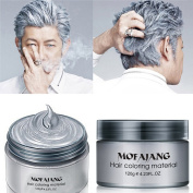 HailiCare Silver Grey Hair Wax 130ml, Professional Hair Pomades, Natural Silver Ash Matte Hairstyle Max for Men Women