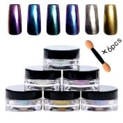 Bluezoo (6 Colours/Set) Mirror Powder Nail Art Decorations, Sequins Chrome Pigment Glitters for DIY UV Nail Art