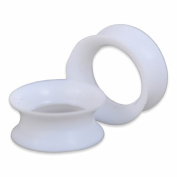 Super-Thin White Silicone Double-Flared Ear Piercing Tunnels - Sold in Pairs - 2ga to 1/2""