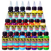 Solong Tattoo® 21 Basic Colours Tattoo Ink Set Pigment Kit 1oz (30ml) Professional Tattoo Supply for Tattoo Kit TI301-30-21