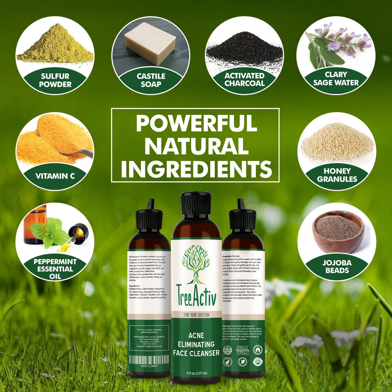 TreeActiv Acne Eliminating Face Cleanser   Natural Facial Treatment  Cleansing Skin Wash   Castile Soap   Sulphur   Charcoal   Vitamin C    Peppermint  
