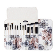 BeautyKate 12 PCS Makeup Brushes Set (White) with Peach Flower Pattern Case