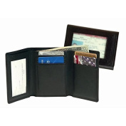 Royce Leather Men's Tri-Fold Wallet with Double ID Window