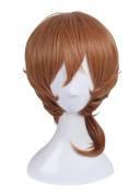Nuoqi Japan Men's Anime Nakahara Chuya Orange Brown Curly Cosplay Wig
