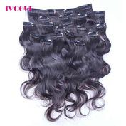iVogue Hair Clip In Human Hair Extensions Body Wave Virgin Brazilian Human Hair Clip Ins 8 Pcs Natural Black Colour Full Head Set Clip In Hair 30cm 41cm