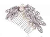 Alilang Elegantly Faux Pearl Silvery Tone Clear Crystal Rhinestone Cluster of Leaves Bridal Hair Comb