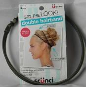 Scunci Double Hairband Trend Alert, No Slip Gripe Spit Headband, elastic and Volume Tool