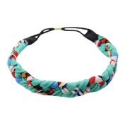 Hand-knitted Cosmetic Headband Hair Band Elastane Headband HeadWrap Flower Green