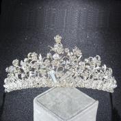 FUMUD Beauty Hair Tiara Princess Rhinestone Crystal Pearl Leaf Crown Bridal Crown Hairband Tiara for Wedding Party
