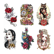 Fake Waterproof Removable Temporary Tattoos - Fashion Lady Long Lasting Body Art Stickers - Red Rose Evil Sexy Lady Cat Women Clock Bone Cute Owl - 6 Styles Body Painting Premium Kit for Guys