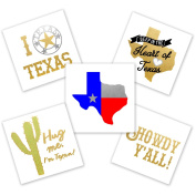 Texas Variety Pack set of 25 assorted premium waterproof metallic temporary foil Flash Tattoos