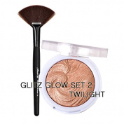 JCAT GLOW GIRL HIGHLIGHTER WITH FAN BRUSH SET BY GLITZ - 102 TWILIGHT