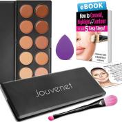Contour 10 Colour Cream Concealer Makeup Palette by Jouvenet, Concealer Palette, Beauty Sponge Blender, Foundation Brush, Organic Brush Cleanser, Instruction Card & Ebook