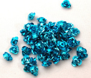 Aluminium rose 6mm light blue 30 pieces Arumibara