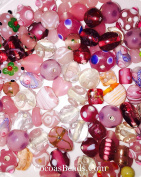 100 Grammes Of Pink & Amethyst Lamp Work & Assorted Mixed Beads Crystal & Glass 8mm-20mm By Cocoas Beads