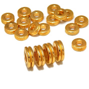 DOUBLE RONDELLE METAL SPACER BEADS HEISHI 6mm GOLD PLATED 50pc jewellery FINDINGS