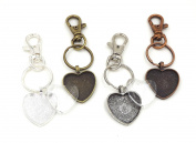 12 Deannassupplyshop 2.5cm Heart Pendant Trays with key chain and glass dome - Multicolor - 2.5cm - Pendant Blanks Cameo Bezel Settings Photo Jewellery - Custom Jewellery Making