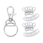 Valar Dohaeris 100 Pieces Metal Swivel Lanyards Snap Hooks Lobster Clasps with Key Rings for Jewellery Findings