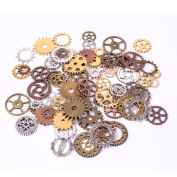 Teenitor 200 Gramme (Approx 140pcs) Bronze and Copper Assorted Antique Steampunk Gears Charms Pendant Clock Watch Wheel Gear for Crafting, Jewellery Making