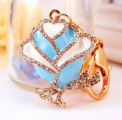 Elfstore Beautiful ROSE figure new fashion rhinestone key chain purse clip