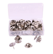 Shapenty 10mm Diameter Tie Tacks Blank Pins with 11mm Diameter Brass Butterfly Clutch Back Replacement Jewellery Buckle