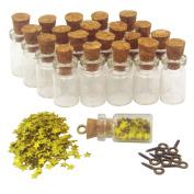LEFV™ 50pcs Mini Glass Bottle 0.5ml Clear Vial with Star Sequin & Eye Screws - Miniature Sample Jars Message Bottles Charm Kit Small Tiny Size 1.9cm
