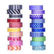 Mudder Colourful Decorative Washi Tapes Washi Masking Tape for Scrapbooks DIY Arts Crafts Office Party Supplies, 20 Pieces
