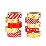 Mudder 10 Rolls Decorative Washi Tapes Washi Masking Tape for Crafts, Scrapbooks, DIY Crafts and Gift Wrapping Office Party Supplies