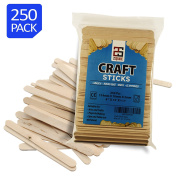 2Square Birch Wood Popsicle Craft Sticks Standard A-Grade 11cm bulk 250 pieces - Arts and Crafts - Food Safe Popsicle Sticks - Spa and Salon use - Natural