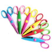 Extpro 6 Pack Plastic Safety Paper Scissor Creative Lace Wave Edge Scissor for Kids Students Teachers