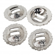 Set of 4, 2.5cm - 0.6cm Saddle Bright Silver Round Slotted Berry Concho