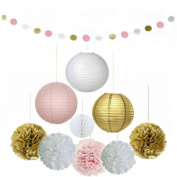 Set of 12 Pcs Tissue Paper Pom Poms Flowers Paper Lanterns and Polka Dot Paper Garland Tissue Paper Honeycomb Balls Lanterns Paper Pom Poms for Wedding Party Decorations by Fascola