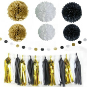 Set of 22Pcs Back Gold Party Decoration Black White Glitter Gold Tissue Paper Pom Pom Paper Tassel Garland Paper Circle Garland for New Years Party Decor,Wedding Birthday Decoration